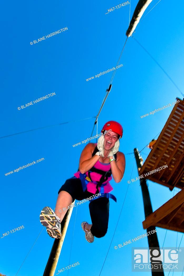 Stock Photo: Ziplining over the Colorado River, Glenwood Canyon zipline adventures, Glenwood Springs, Colorado USA.