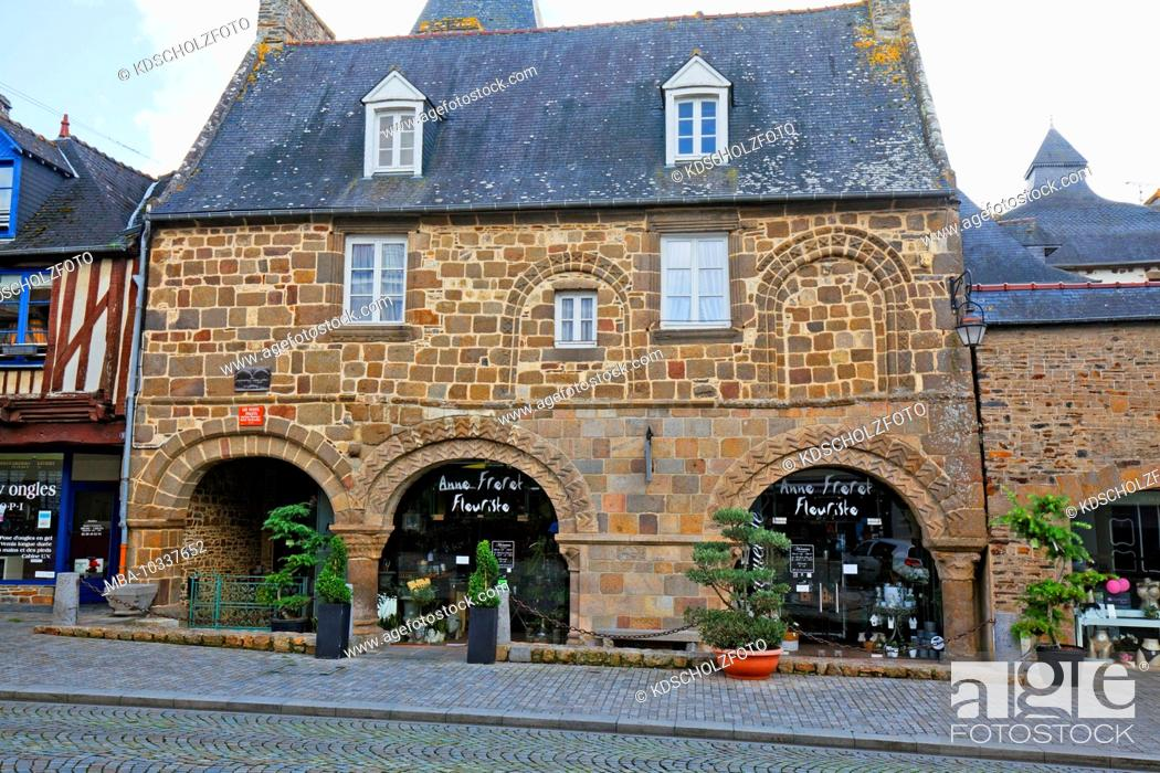 Stock Photo: Dol-de-Bretagne is a commune in the Ille-et-Vilaine department in the Brittany region. Awarded as Petite cité de caractère, small place with character.