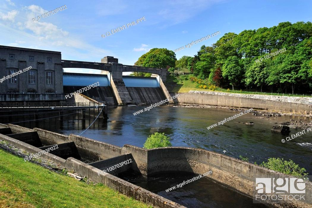 Stock Photo: The Pitlochry fish ladder, showing several of the intermediate pools which the salmon use for travelling upstream, next to the Pitlochry Power Station on the.