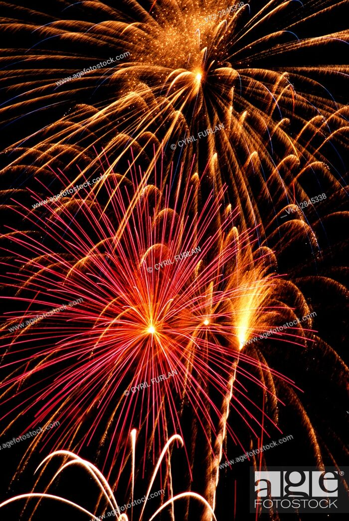Stock Photo: Fireworks Display on the Fourth of July in Pennsylvania U. S. A.