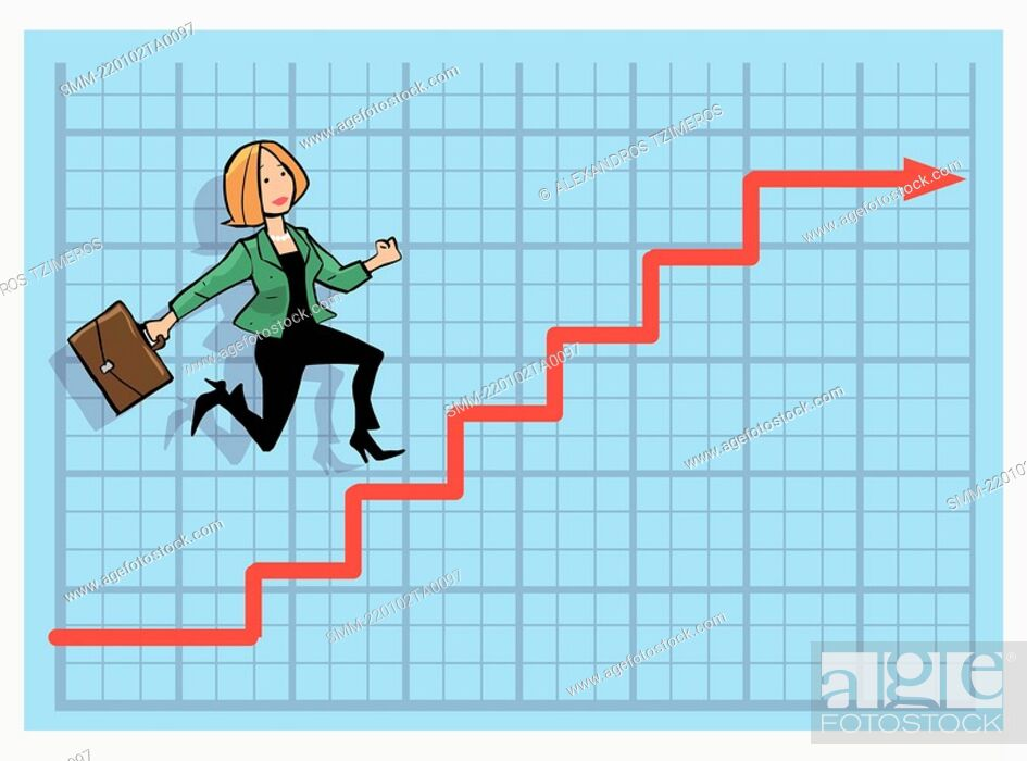 Stock Photo: Businesswoman climbing up the stock chart arrow.