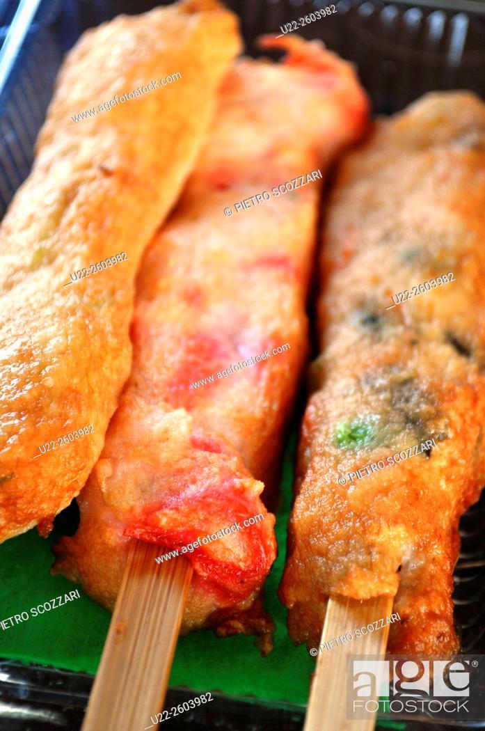 Stock Photo: Nago (Okinawa, Japan): fish paste skewers.