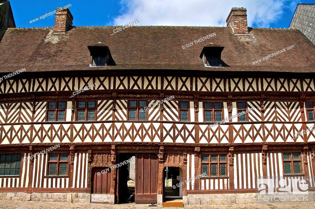 Stock Photo: Henry IV house facade, Renaissance time, Saint Valery en Caux, Normandy, France.