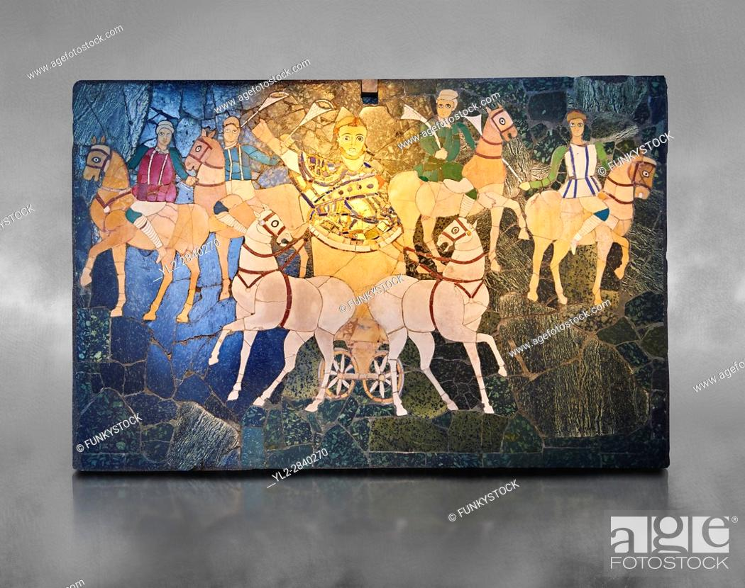 Imagen: 4th Century AD Roman Opus Sectile Mosaic of a chariot & 4 horses from the basilica de Giunio Basso. Museo Nazionale Romano ( National Roman Museum), Rome, Italy.