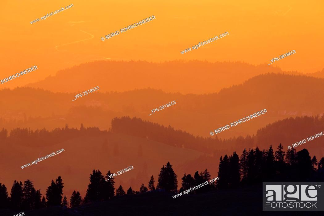 Stock Photo: mountain chains at sunset, view from Niederhorn, Bernese Oberland, Switzerland.