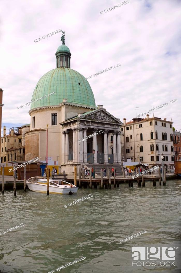 Stock Photo: Church at the waterfront, Church of San Simeon Piccolo, Venice, Italy.