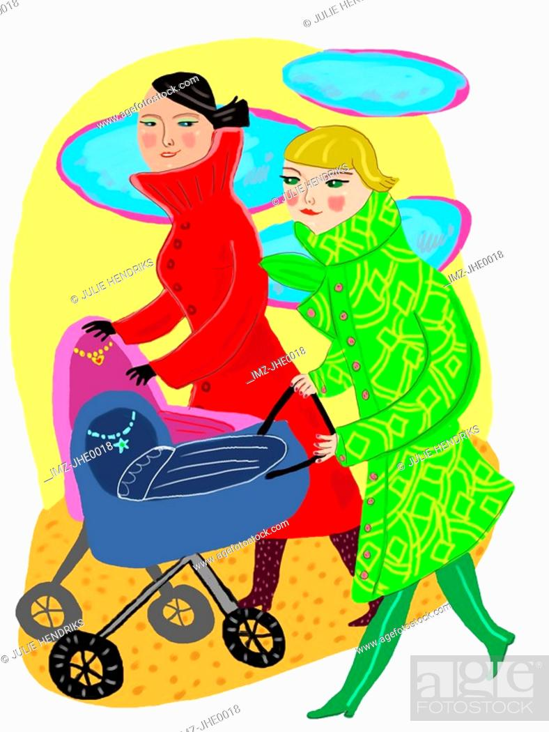 Stock Photo: two women with baby carriages.