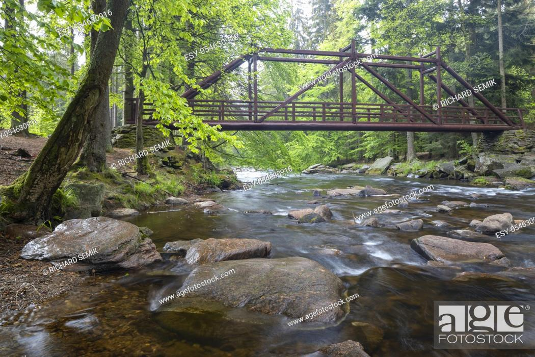 Stock Photo: Paseracka lavka brige on the Divoka Orlice river in Zemska brana nature reserve, Orlicke mountains, Eastern Bohemia, Czech Republic.