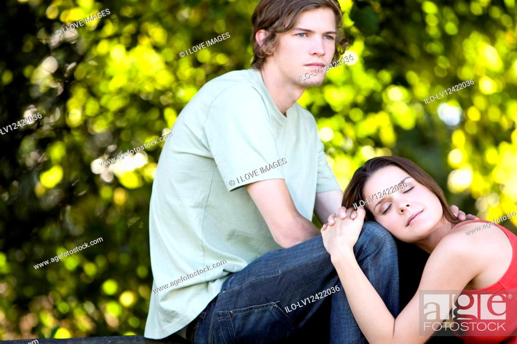 Stock Photo: A romantic young couple outdoors.