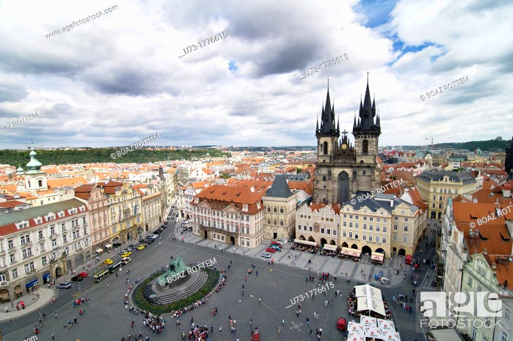 Stock Photo: A beautiful view of Prague's old town Sq  and the Church of our lady before Tyn.