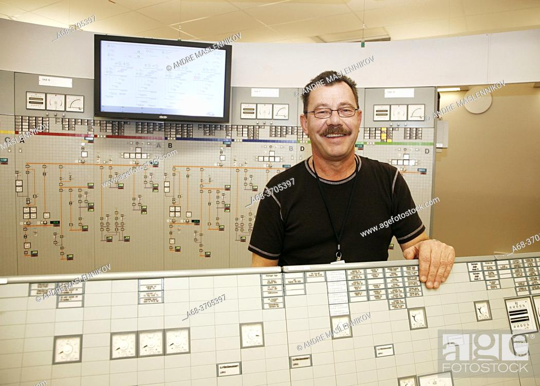 Stock Photo: Forsmark nuclear power plant. The trainer Sven-Åke Bergman shows the facility.