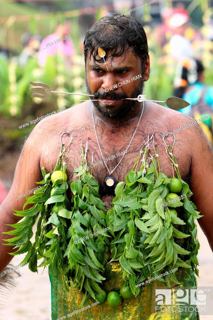 Stock Photo: Image of a Hindu devotee, Malaysia, Kuching, Thaipusam Hindu festival.