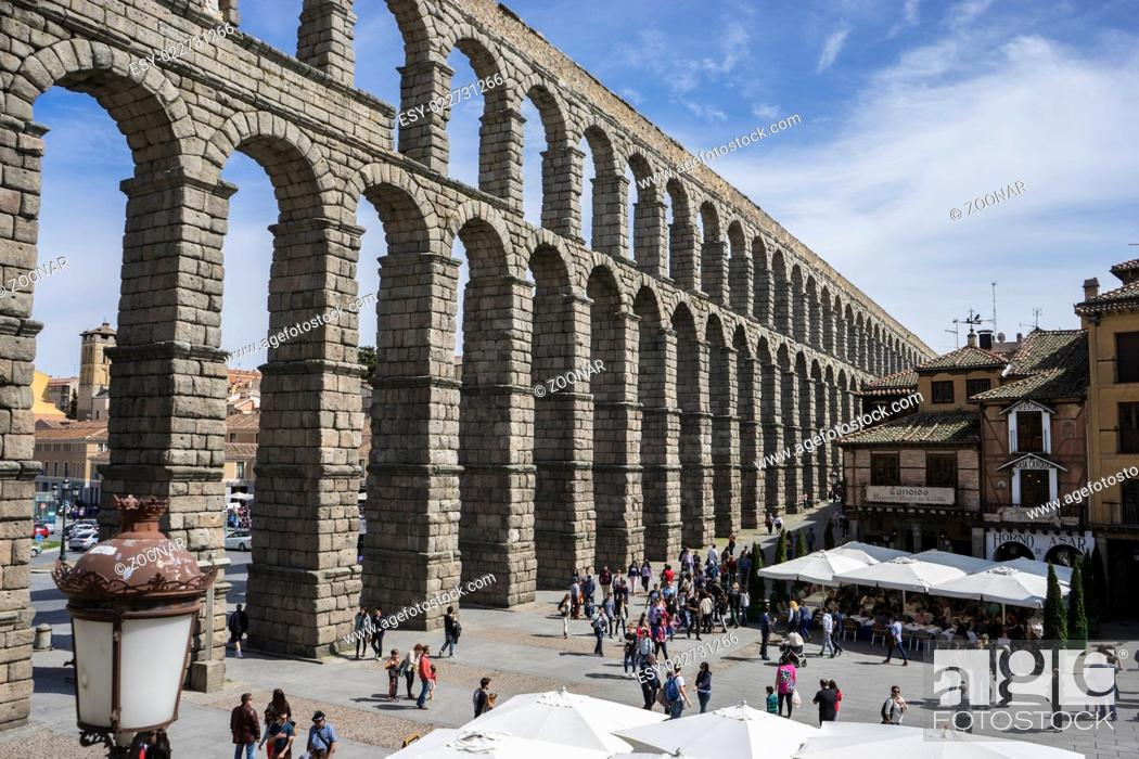 Stock Photo: Ruin, Roman aqueduct of segovia. architectural monument declared patrimony of humanity and international interest by UNESCO. Spain.