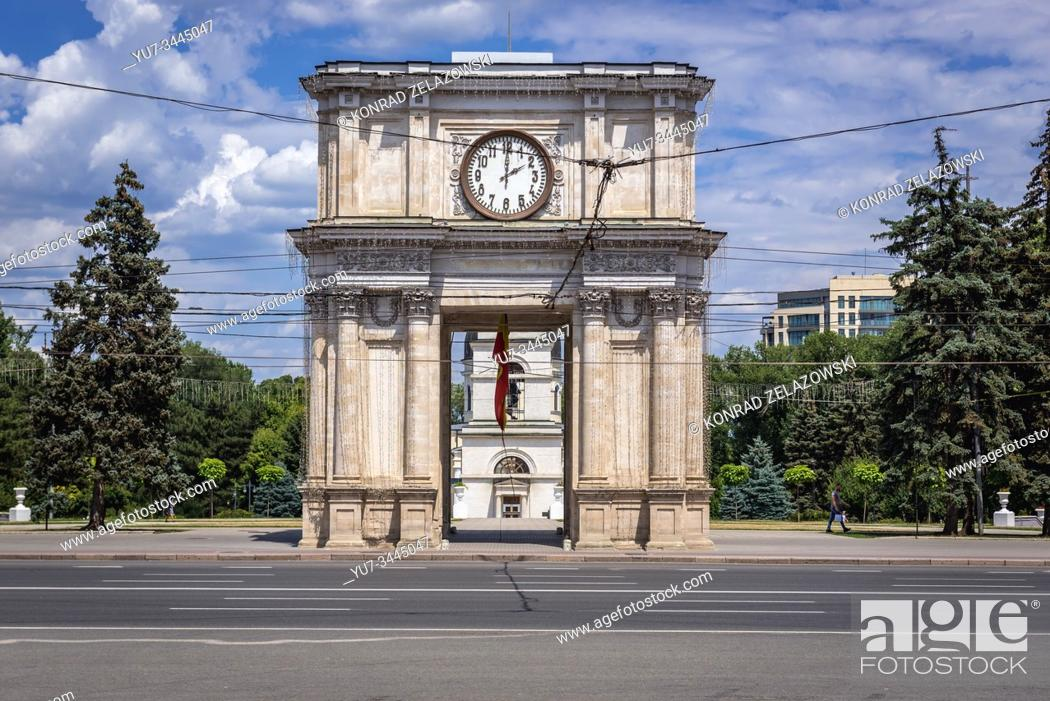 Stock Photo: Triumphal arch on the Great National Assembly Square - central square of Chisinau, capital of the Republic of Moldova.