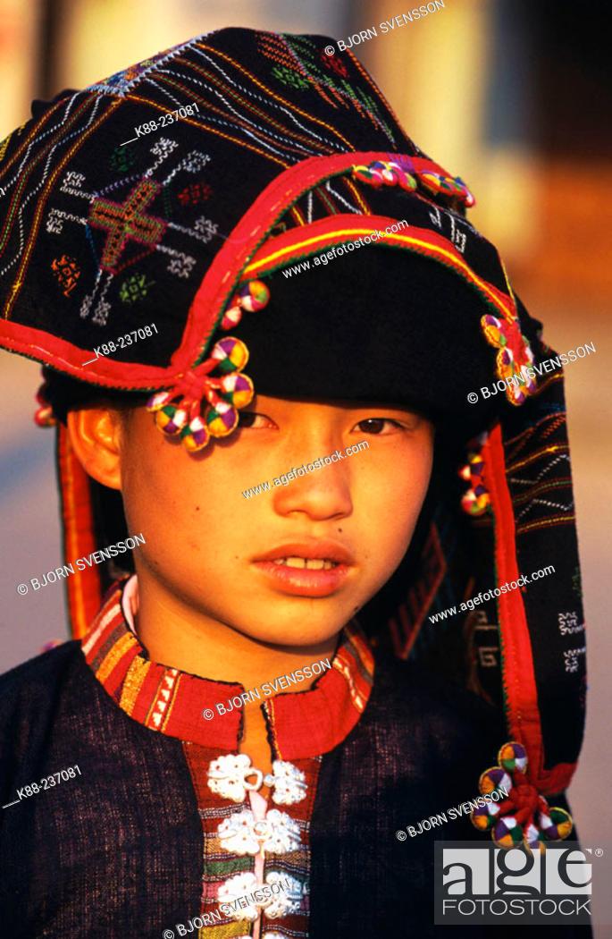 Stock Photo: Tai Dam (Black Tai) girl. Muang Sing. North Laos.