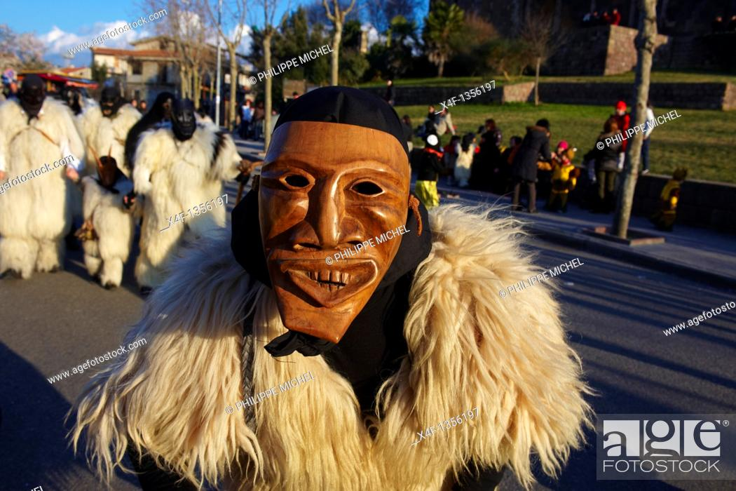 Stock Photo: Italy  Sardinia  Nuoro province  Ottana village  Canival with Boes and Merdules mask  Painting from Pina Mone.