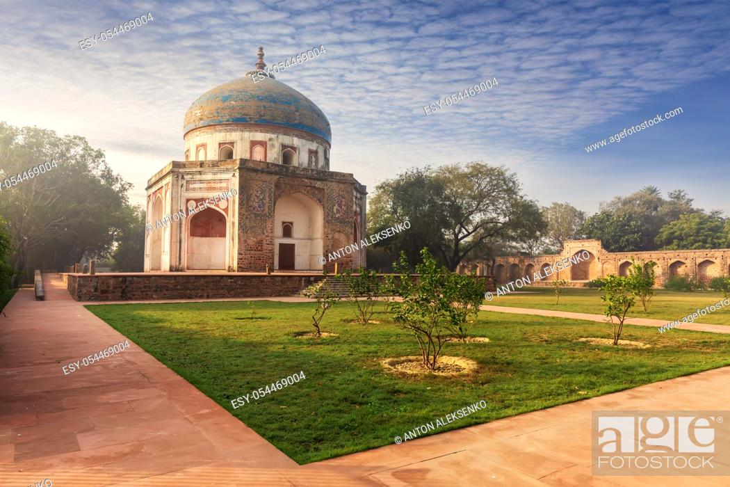 Stock Photo: Nila Gumbad or Blue Dome near the Humayun's Tomb, New Delhi, India.