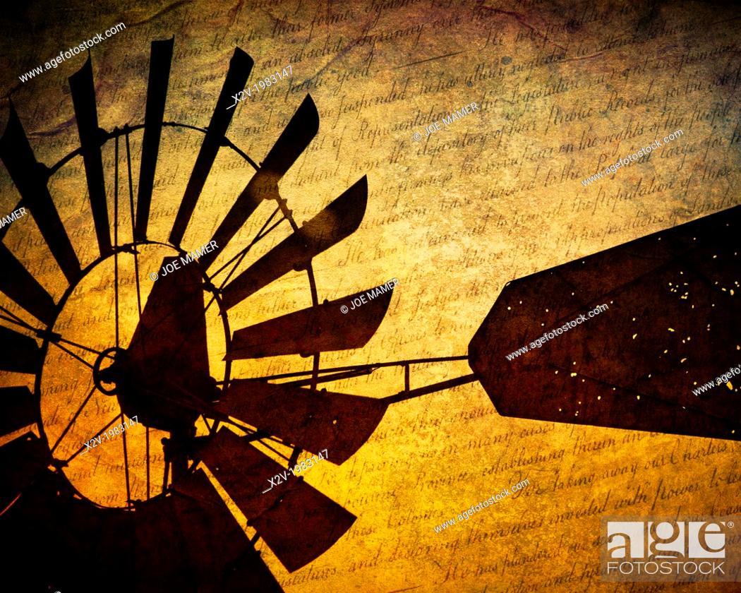 Photo de stock: Windmill close up at sunset.