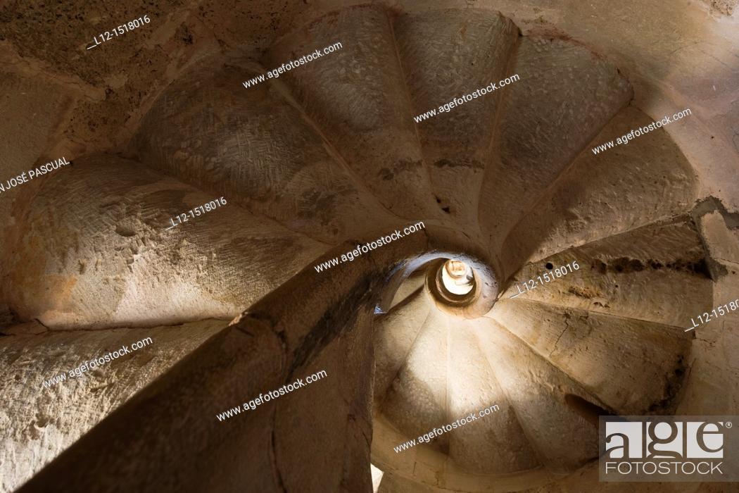 Stock Photo: Church, spiral stair, Ahedo de Butrón, Burgos province, Castilla-León, castille-Leon, Spain.