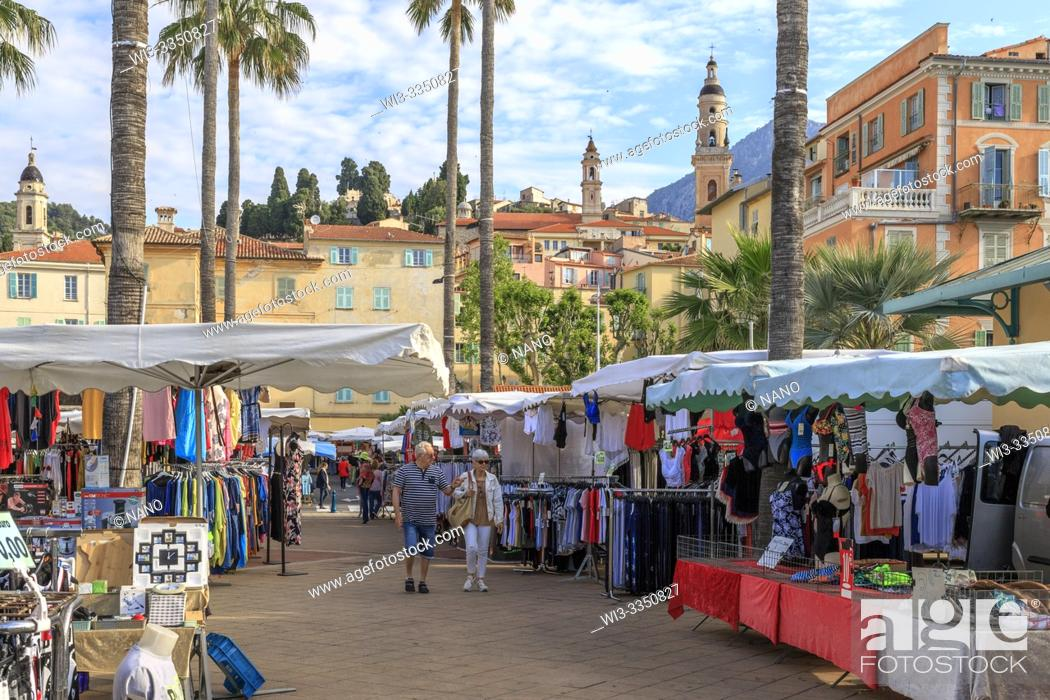 Stock Photo: France, Alpes Maritimes, Menton, market at the foot of the old town.