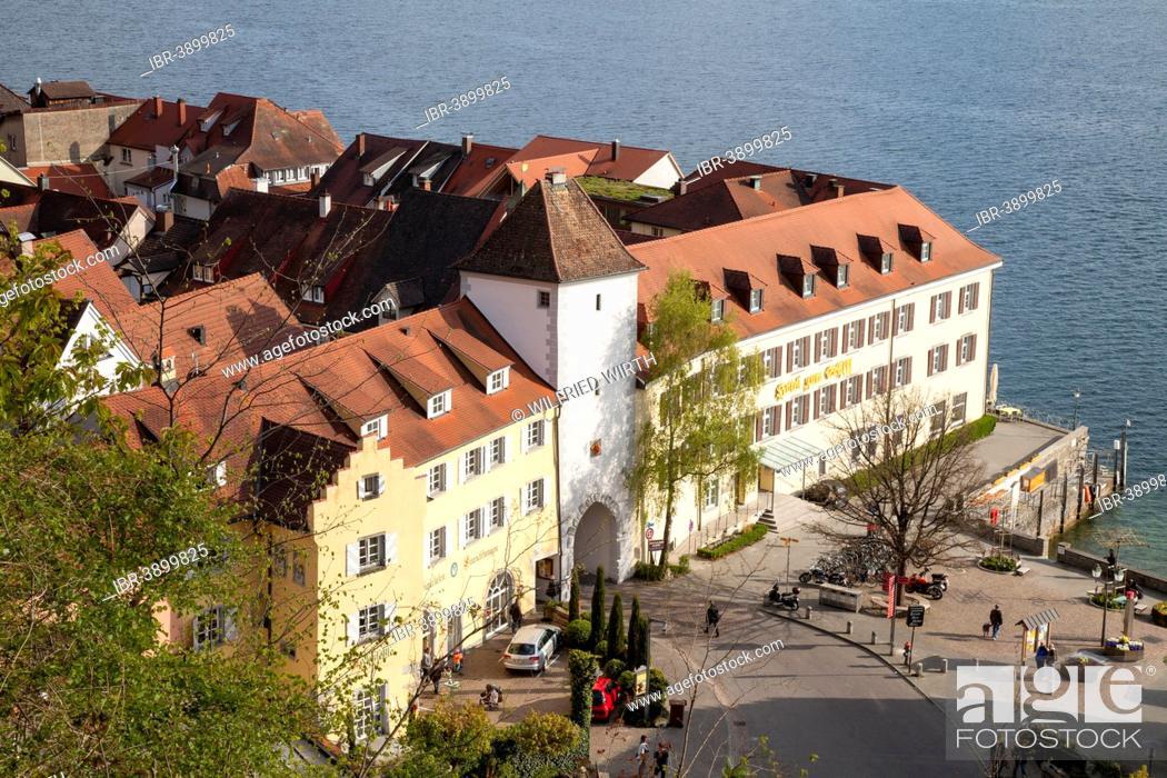 Stock Photo: Lower Town with Unterstadttor Gate, Meersburg, Lake Constance, Baden-Württemberg, Germany.