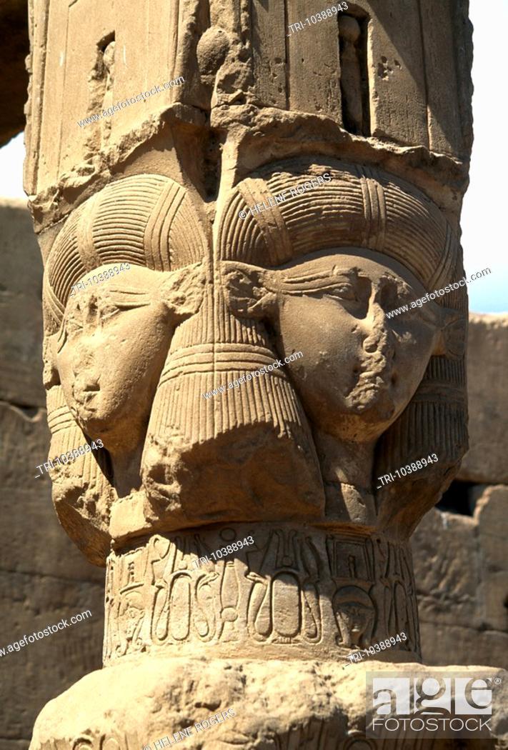 Stock Photo: Dandera Egypt Hathor Headed Column Chapel Of Union With Disc.