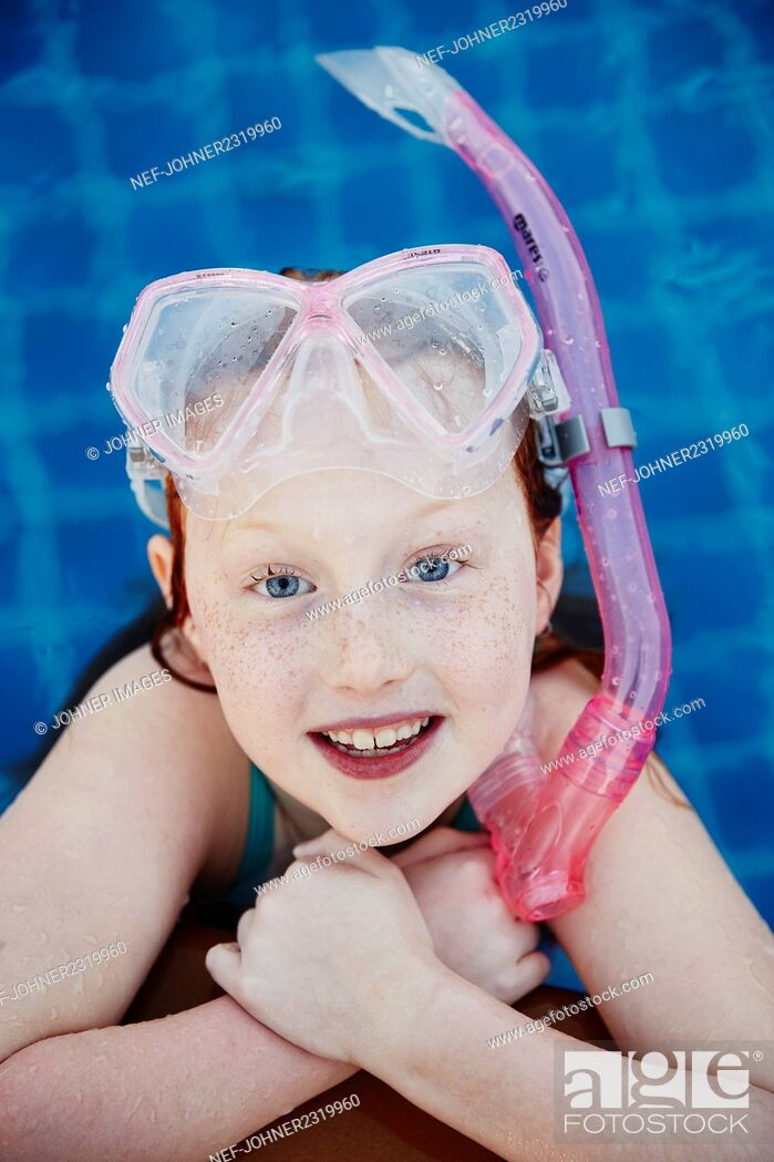 Stock Photo: Portrait of girl with scuba mask.