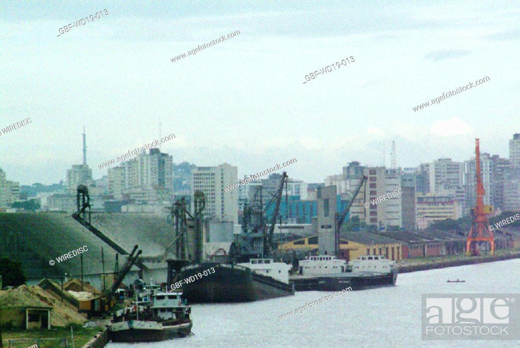 Stock Photo: Ship, port, City, Porto Alegre, Rio Grande do Sul, Brazil.