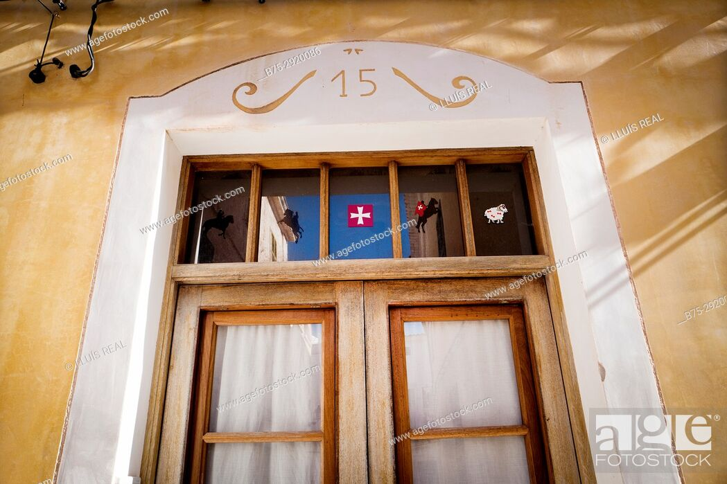 Stock Photo: Typical door, Ciutadella, Minorca, Balearic Islands, Spain.