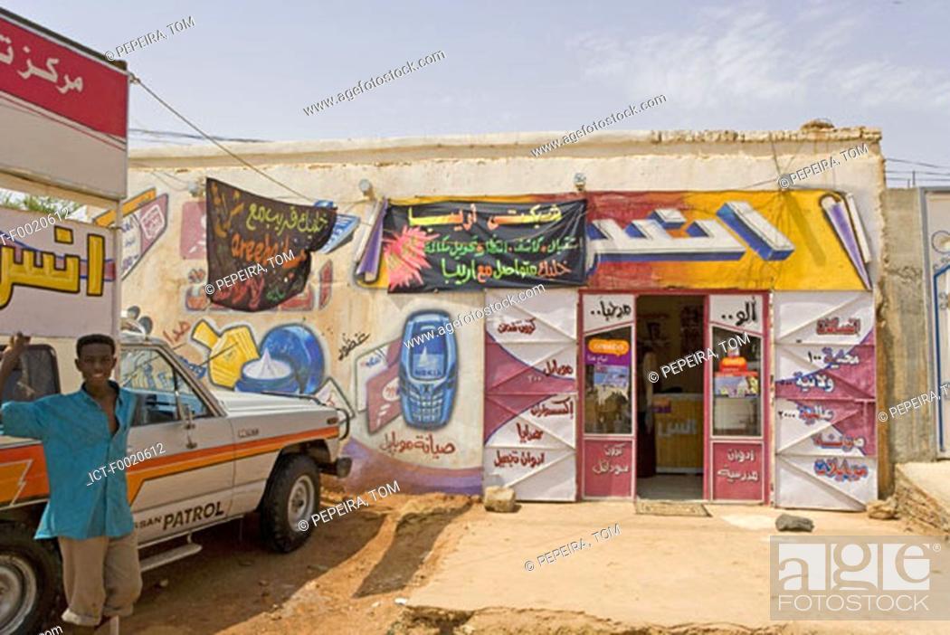Stock Photo: Sudan, Khartum, decorated shops.