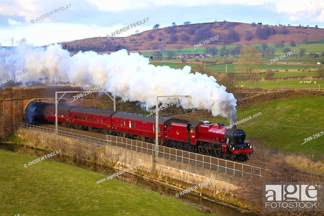 Stock Photo: West Coast Main Line. Steam train. LMS Jubilee Class 45699 Galatea. Kitchenhill, Penrith, Cumbria, England, UK.