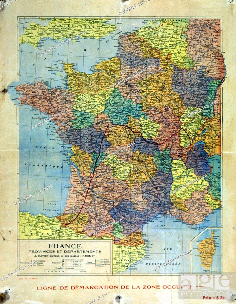 Map Of France Showing Nice.Map Of France Showing The Area Occupied Northern France By The