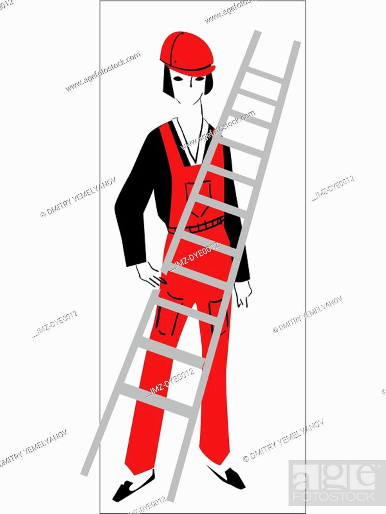 Stock Photo: A retro illustration of a female construction worker.