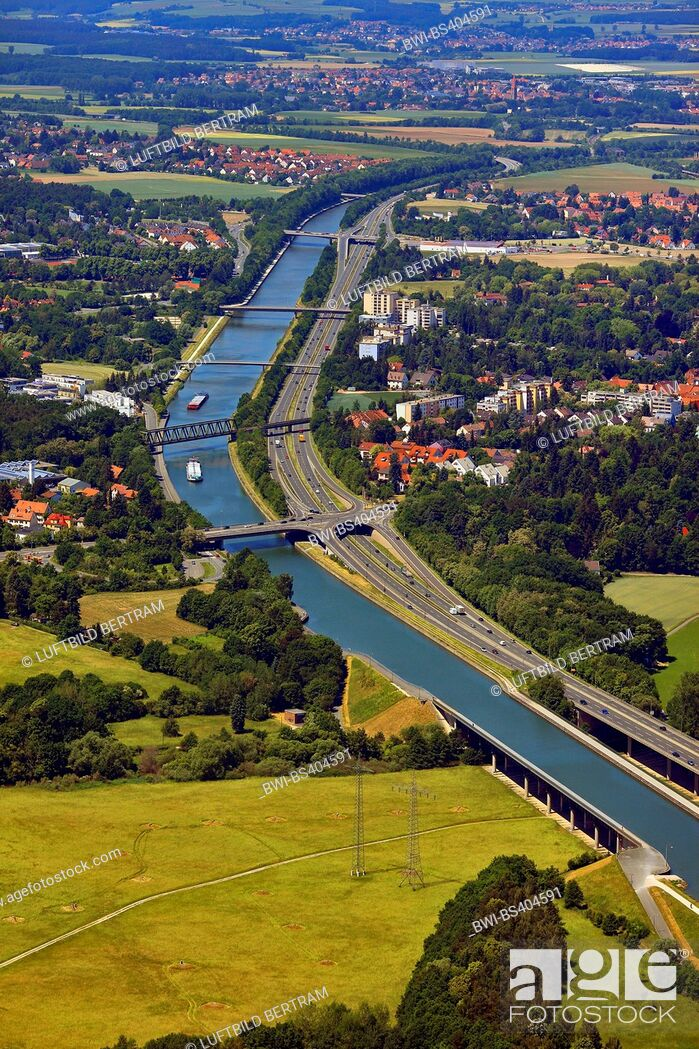 Stock Photo: Rhine-Main-Danube Canal and aqueduct near Fuerth, aerial view, Germany, Bavaria, Middle Franconia, Mittelfranken, Fuerth.