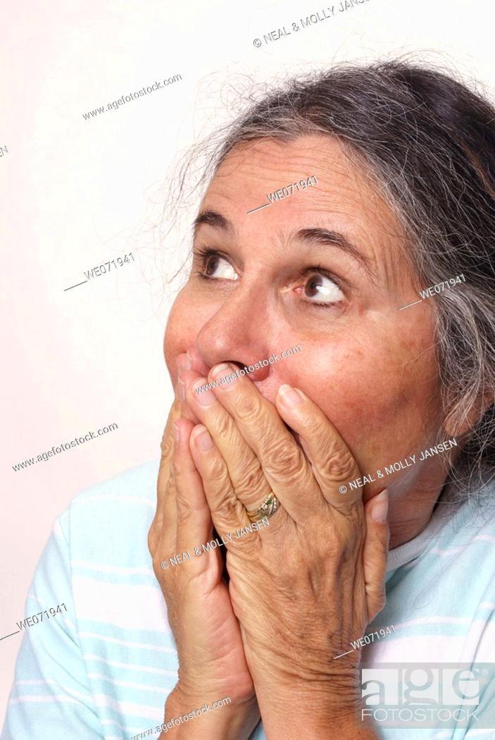 Stock Photo: Amazed and startled elderly woman.