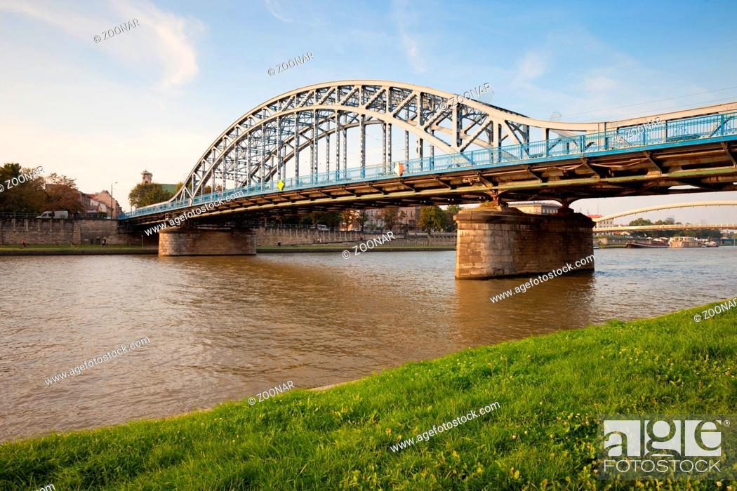 Stock Photo: Pilsudski Bridge on Vistula River in Krakow.