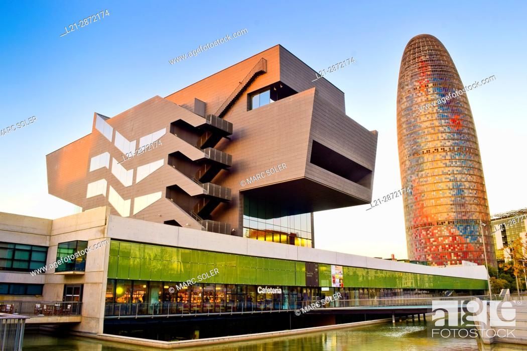 Stock Photo: Disseny Hub Barcelona, Design Hub Barcelona, DHUB, made by MBM Arquitectes. Agbar Tower designed by French architect Jean Nouvel.