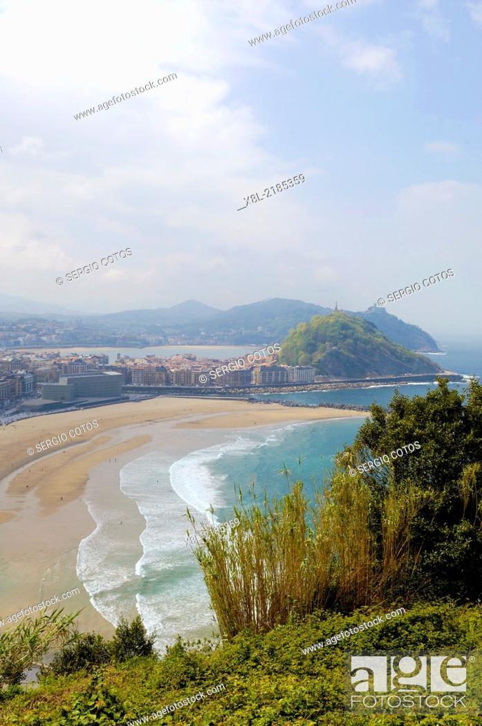 Stock Photo: View of San Sebastian from Mount Ulia Guipuzcoa, Basque Country.