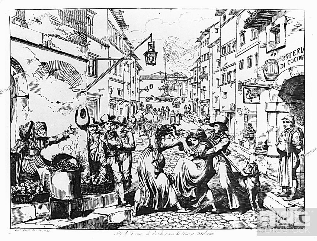 Imagen: Street women fight near Piazza Barberini (Lite di donne di strada presso la piazza Barberini), by Bartolomeo Pinelli, 1830, 19th Century, etching.