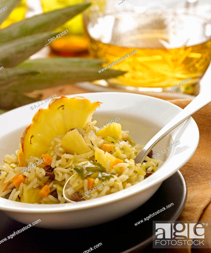 Stock Photo: Pineapple curry and rice.