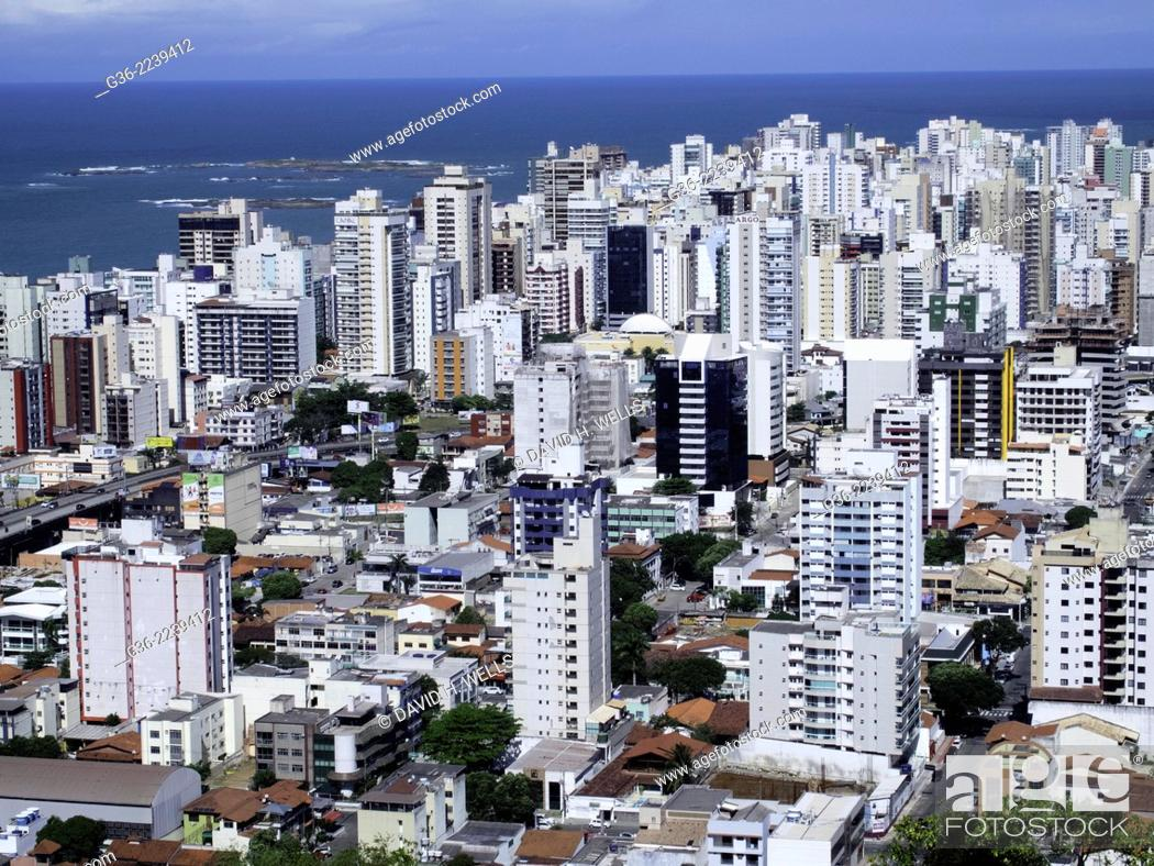 Stock Photo: Residential structures and city skyline at Vitoria, Espirito Santo, Brazil.