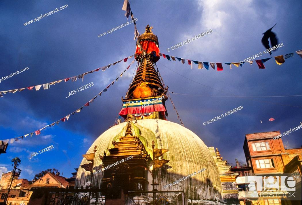 Stock Photo: Buddhist stupa  Kathmandu  Nepal.