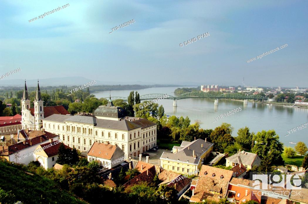 Stock Photo: Hungary, Esztergom, The Danube Bend, from The Primate's Basilica of the Blessed Virgin Mary taken into heaven and St Adalbert, the Jesuit Church on the left.