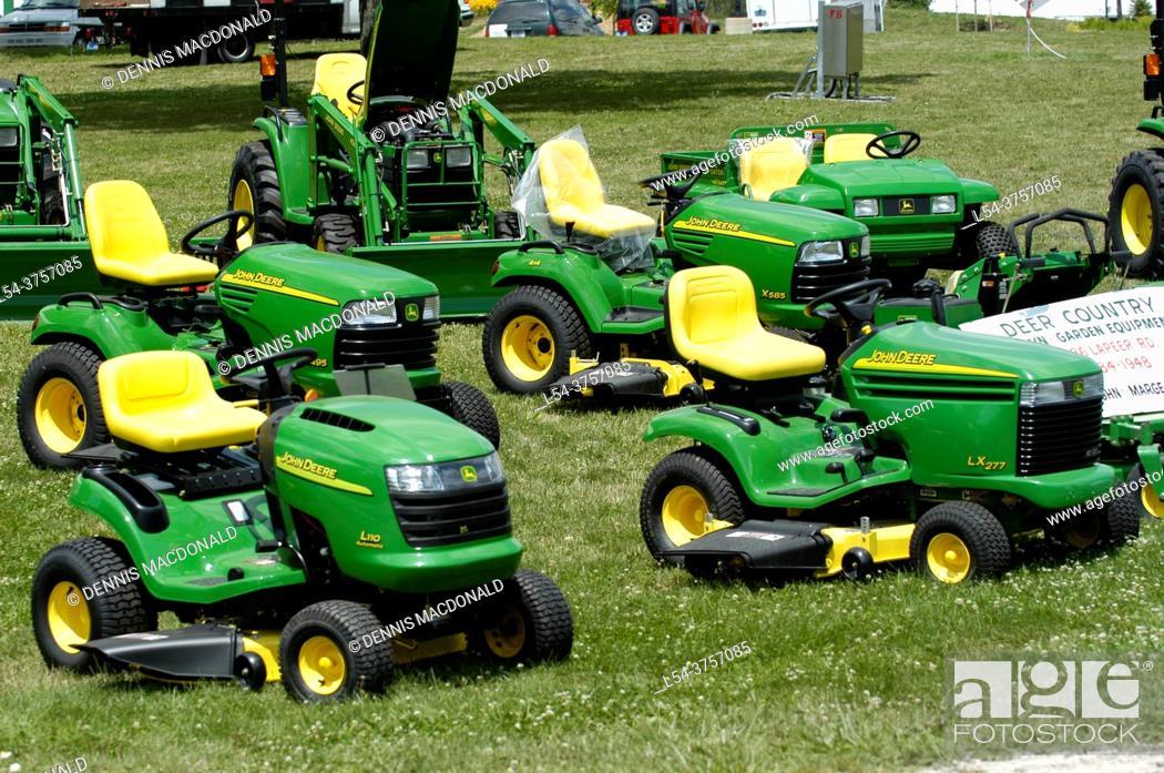 Stock Photo: Display of John Deer lawn and garden tractors.