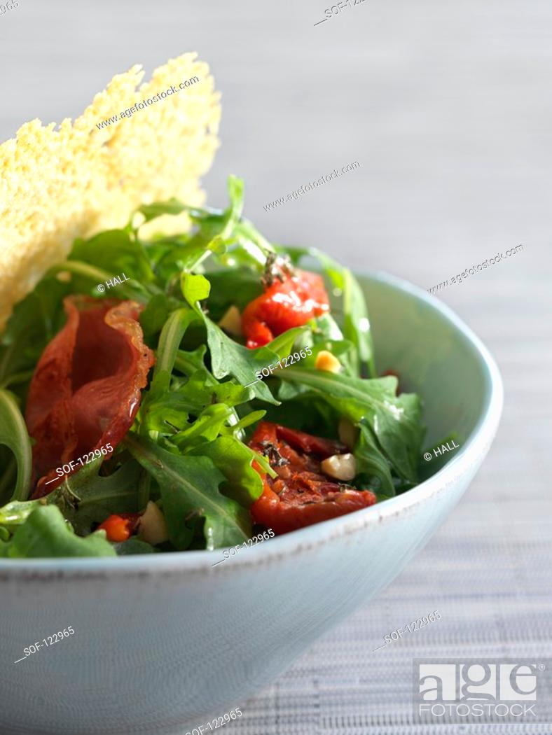 Stock Photo: Bacon, red pepper and rocket salad.