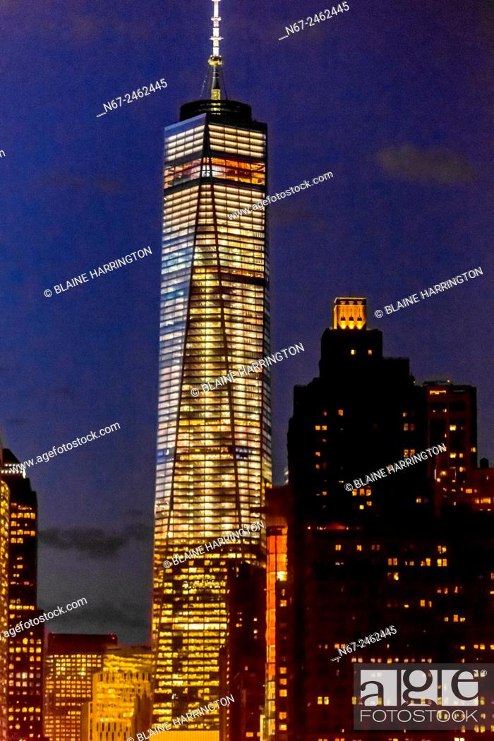 Stock Photo: One World Trade Center (the tallest skyscraper in the Western Hemisphere and 4th tallest in the world), , New York, New York USA.