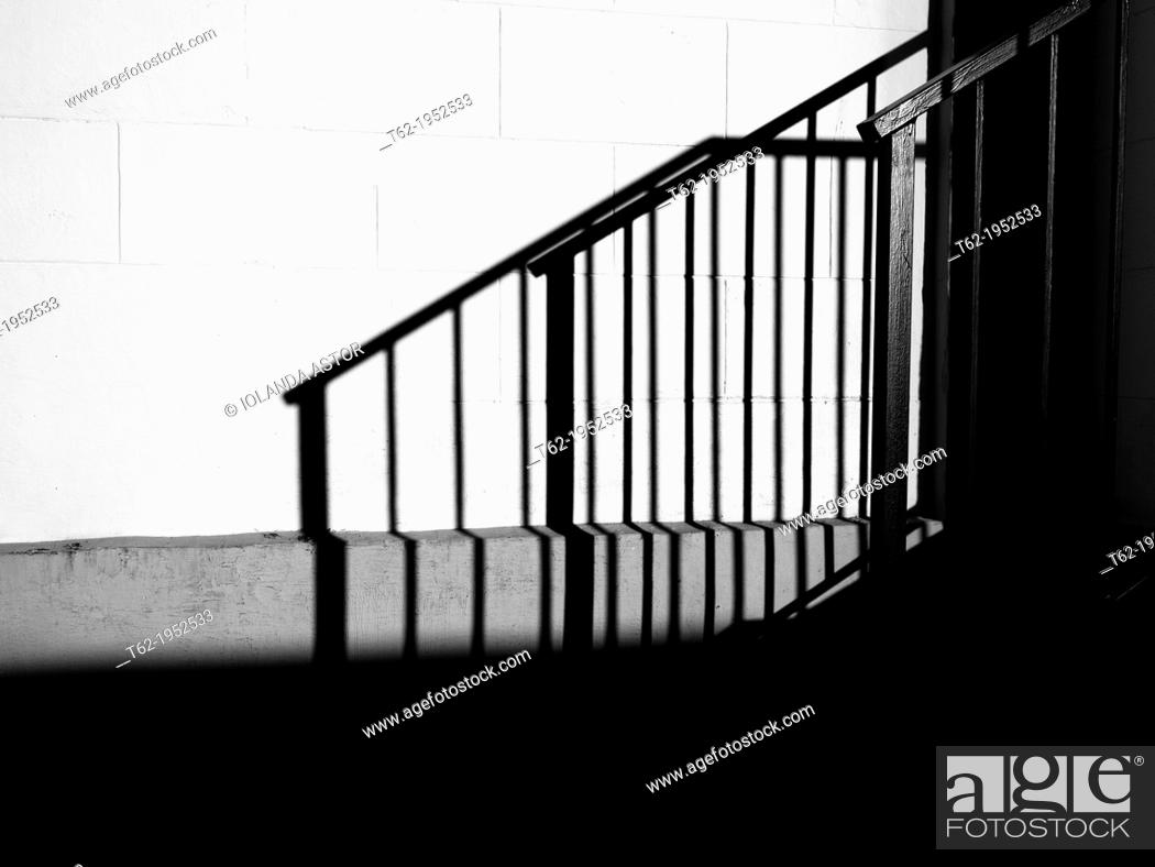 Stock Photo: Shadow of a black and white staircase.