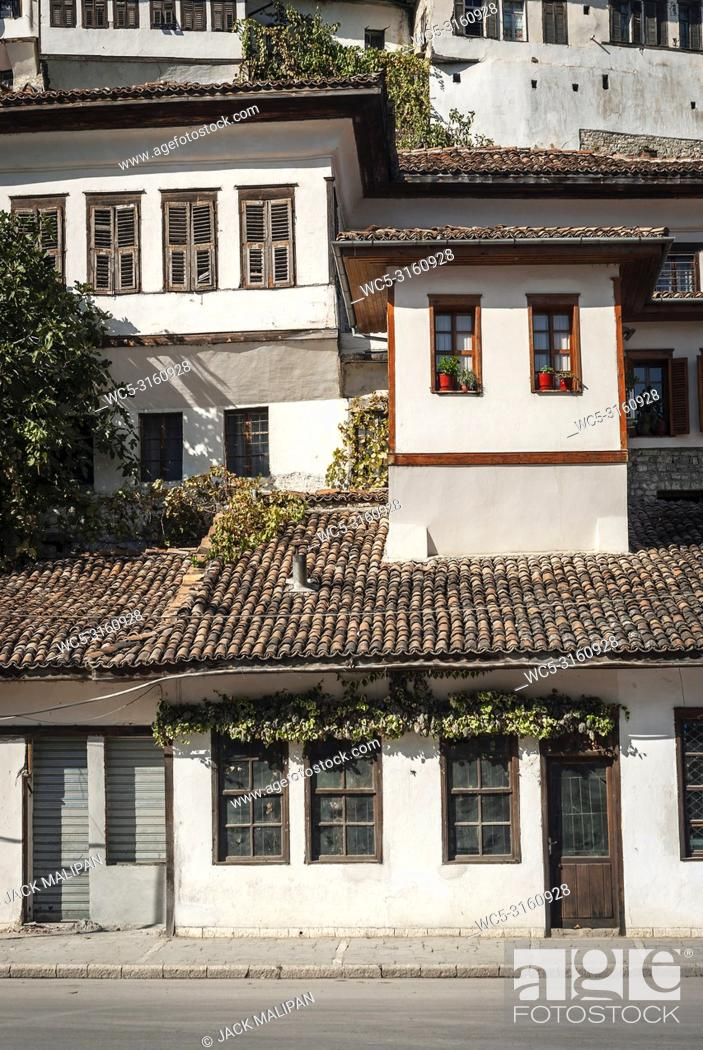 Stock Photo: ottoman style architecture view in historic berat old town albania.
