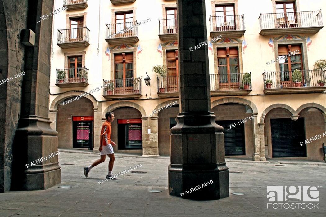 Photo de stock: arches, square, Solsona, Catalonia, Spain.