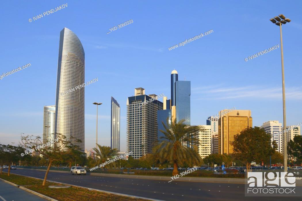 Stock Photo: Abu Dhabi Skyline, United Arab Emirates.